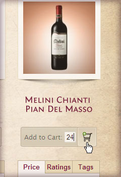 Adding wine to cart example